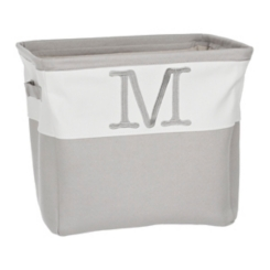 Gray Traditional M Monogram Storage Bin