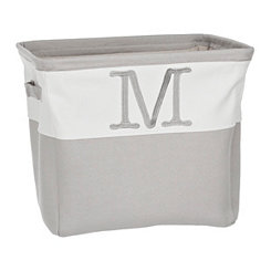 Gray Traditional M Monogram Storage Bin