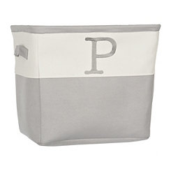 Gray Traditional P Monogram Storage Bin