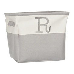 Gray Traditional R Monogram Storage Bin