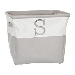 Gray Traditional S Monogram Storage Bin