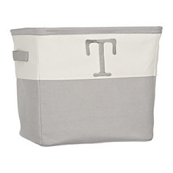 Gray Traditional T Monogram Storage Bin