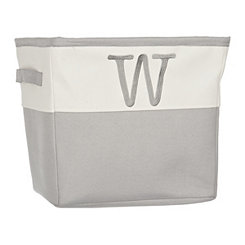 Gray Traditional W Monogram Storage Bin