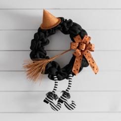 Black Burlap Witch Legs Wreath