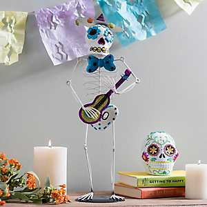 Day of the Dead Iron Sugar Skull Musician Figurine