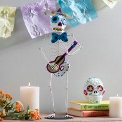 Day of the Dead Iron Sugar Skull Musician Figurine
