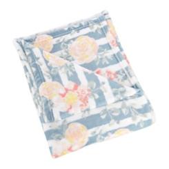 Floral Stripe Plush Throw