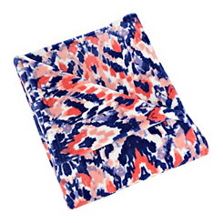Blue and Pink Damask Painters Plush Throw