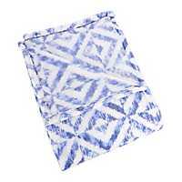 Blue Shibori Diamonds Plush Throw