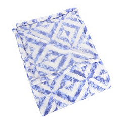 Blue Shibori Diamonds Plush Throw