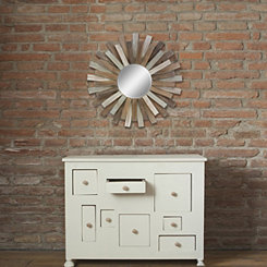 Wooden Sunburst Wall Mirror