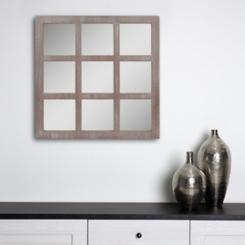Gray Window Pane Mirror
