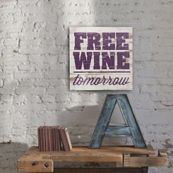 Free Wine White Wood Wall Plaque