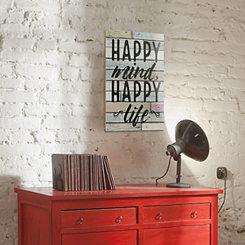 Happy Mind Wood Panel Wall Plaque