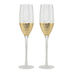 Gold Base Champagne Glasses, Set of 2