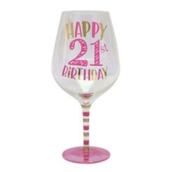 Pink 21st Birthday Wine Glass