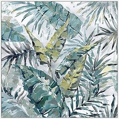 Jungle Leaves Framed Canvas Art Print