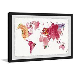 Floral World Map Framed Art Print