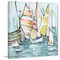 Colorful Sailboats Embellished Canvas Art Print