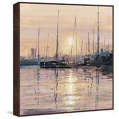 Boats at Sunset Framed Canvas Art Print
