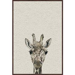 Giraffe Linen Framed Art Print