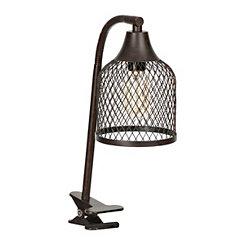 Glossy Black Clip Task Lamp