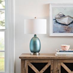 Rich Blue Mercury Glass Table Lamp