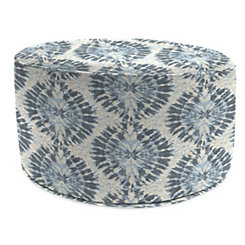 Pellyn Silver Frost Round Outdoor Pouf