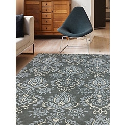 Blue and Gray Damask Area Rug, 5x8