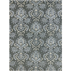 Blue and Gray Damask Area Rug, 8x10