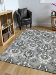 Gray and White Damask Area Rug, 5x8