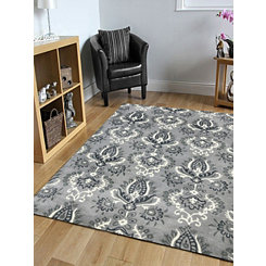 Gray and White Damask Area Rug, 8x10