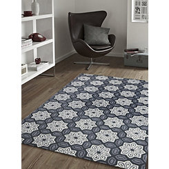 Gray Geometric Floral Area Rug, 8x10