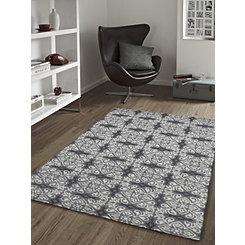 Gray Mosaic Tile Area Rug, 5x8