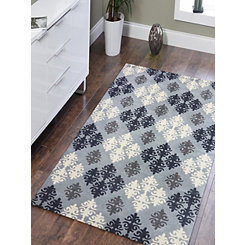 Blue Checkered Damask Area Rug, 5x8