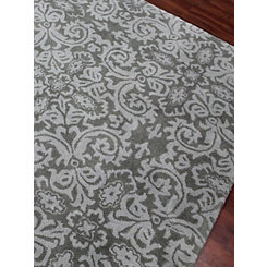 Gray French Damask Area Rug, 8x10