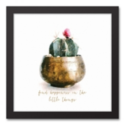 Find Happiness Cactus Framed Canvas Art Print