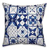 Blue Watercolor Tile Pillow