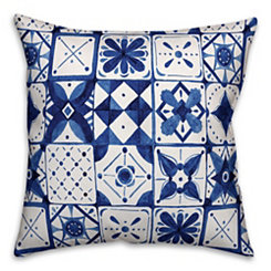 Blue Watercolor Tile Pillow