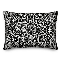 Black Mandala Accent Pillow