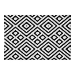 Black and White Diamond Non-Skid Accent Rug