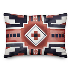 Navy and Rust Aztec Accent Pillow