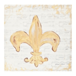 Gold Fleur-de-lis Music Canvas Art Print
