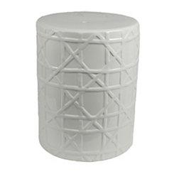 Patterned White Ceramic Garden Stool
