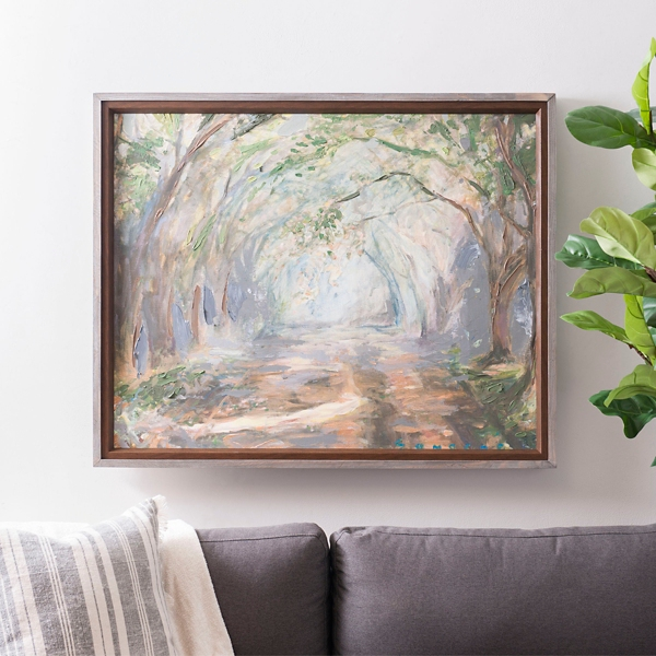 Tree Lined Path Framed Canvas Art Print