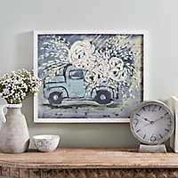 Blue Flower Truck Framed Art Print