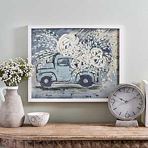 Blue Flower Truck Framed Art Print