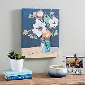 Navy Floral Canvas Art Print