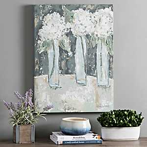 Hydrangea Vase Trio Canvas Art Print