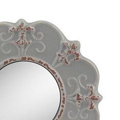 Matte Gray Fleur-de-Lis Ceramic Mirror